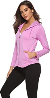Womens Ultra Soft Lightweight Athletic Hoodies Zip Workout Running Track Yoga Jacket