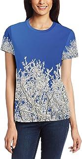 XiangHeFu T Shirt voor vrouwen meisjes winter sneeuw boom aangepaste korte mouw