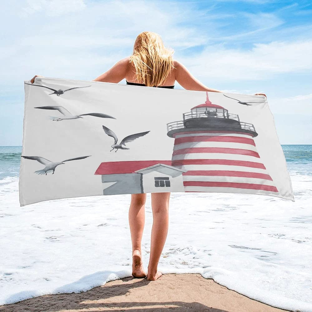 LINMING Lighthouse Seagull Watercolor Art Towel Save money Bath Camping SEAL limited product Bat