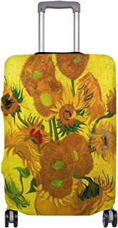 Mydaily Sunflowers Van Gogh Oil Painting Luggage Cover Fits 24-26 Inch Suitcase Spandex Travel Protector M
