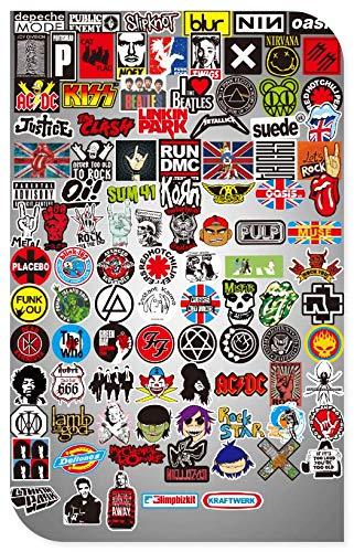 Rock Band Rock Stickers Suitcase Laptop Guitar Panel Waterproof Graffiti Decoration Stickers 100 Sheets