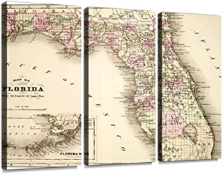 Map of Florida 1894 Print On Canvas Wall Artwork Modern Photography Home Decor Unique Pattern Stretched and Framed 3 Piece