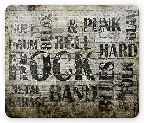 Lunarable Grunge Mouse Pad, Music Wall with Punk Jazz Rock Garage Soft Blues Folk Genre Art Murky Graphic, Rectangle Non-Slip Rubber Mousepad, Standard Size, Green Beige