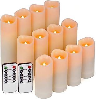 شمعهای بدون شعله ، شمع های در فضای باز شمعهای روشنایی 12 عیار (D 2.2 '' X H 4''5''6 ') شمعهای رزین عاج شمعهای ضد آب با تایمر از راه دور