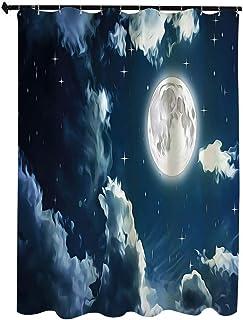 夜空 おしゃれ シャワー カーテン 180 x 180cm 夜空の星と満月のロマンチックなハネムーンの装飾 ホワイト カーテン 清潔感 バス用品 カーテン バスルーム お風呂 洗面所 間仕切り バスルーム カーテン リング付属 水色と白