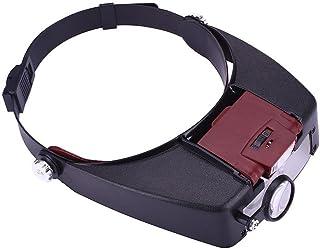 Honeytecs Adjustable Jewelers Head Headband Lamp Magnifier Illuminated Magnifying Eye Glasses Lens Loupe 2 LED Light Visor...