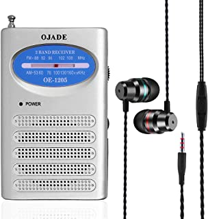 Portable Pocket Transistor Radio with Earbud Headphones, SourceTon Battery Operated AM/FM Radio Built-in Speaker and in Ea...