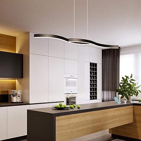 Lampe de cuisine - Suspension LED - Intensité variable - Pour salle à manger - Design moderne - Avec télécommande - Hauteur réglable - 100 cm - Noir
