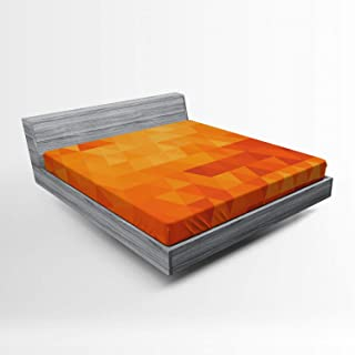 ABAKUHAUS Orange Drap-Housse, Formes et Motifs, Pochette Élastique Tout Confort pour Literie en Tissu Décoratif, 135 x 190...