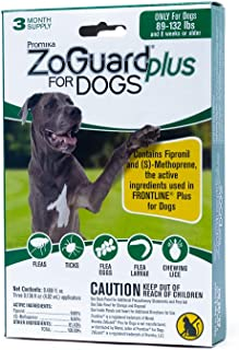 ZoGuard Plus Flea and Tick Prevention for Dogs, X-Large 89-132 lbs, 3 Months, 3 Doses