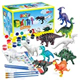 BAODLON Kids Arts Crafts Set Dinosaur Toy Painting Kit - 10 Dinosaur Figurines, Decorate Your Dinosaur, Create a Dino World Painting Toys Gifts for 3,4,5,6,7,8 Year Old Boys Kids Girls Toddlers