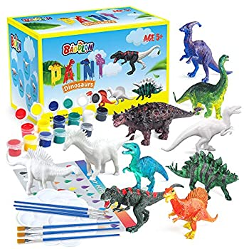 BAODLON Kids Arts Crafts Set Dinosaur Toy Painting Kit - 10 Dinosaur Figurines Decorate Your Dinosaur Create a Dino World Painting Toys Gifts for 5 6 7 8 Year Old Boys Kids Girls Toddlers