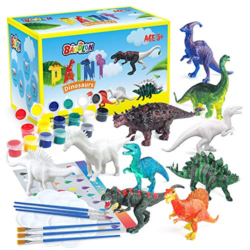 BAODLON Kids Arts Crafts Set Dinosaur Toy Painting Kit - 10 Dinosaur Figurines, Decorate Your Dinosaur, Create a Dino World Painting Toys Gifts for 5, 6, 7, 8 Year Old Boys Kids Girls Toddlers