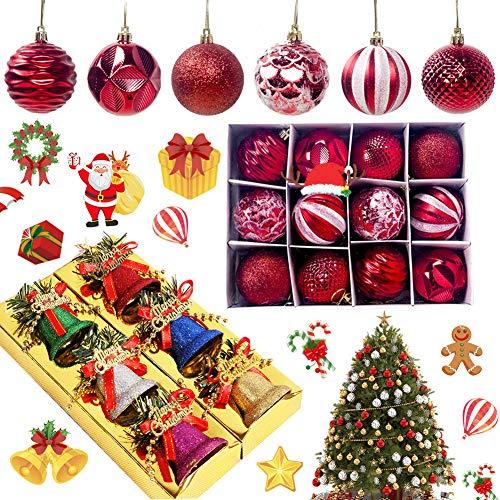 BAIBEI Natalizie Ornamento Decorazione, 6 Pezzi Campane di Natale in plastica+12 Pezzi Palle di Natale per L'Albero Impostare Ornamento Dell'Albero per la Decorazione dell'albero di Natale, 18pcs