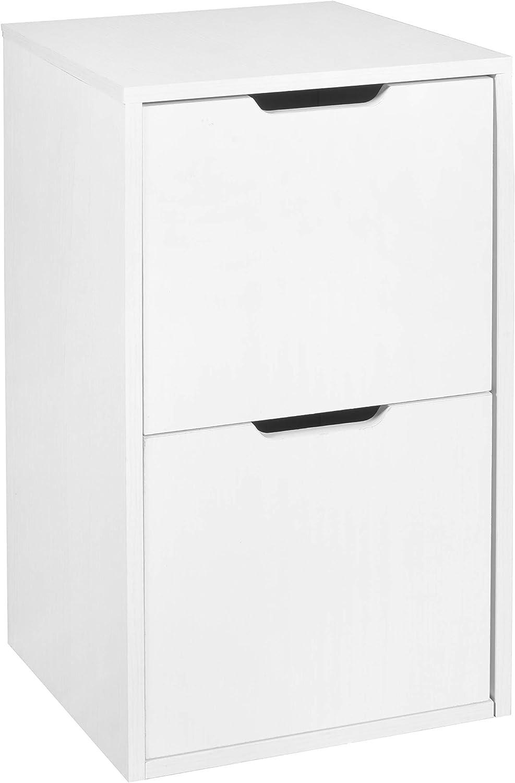 Niche Mod Freestanding Pedestal Two Drawer Filing Cabinet, White Wood Grain: Furniture & Decor