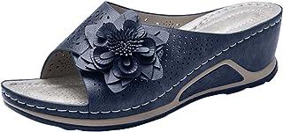 Damessandalen, retro, elegant, bloem, slingback, sleehak, peep toe sandalen, slip-on comfortabele strandsandalen, slippers...