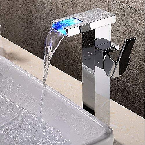 Grifo para Lavabo para baño - Cascada/Extensible/Nuevo diseño Cromo Montado en la Pared con una Sola manija Un Agujero