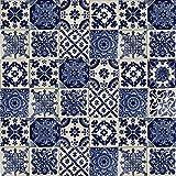 Cerames - Azul - Azulejos Mexicanos decorados  10x10cm, 30 piezas   Azulejos artesanales de ceramica Talavera, hecho y pintado a mano, para baño y cocina