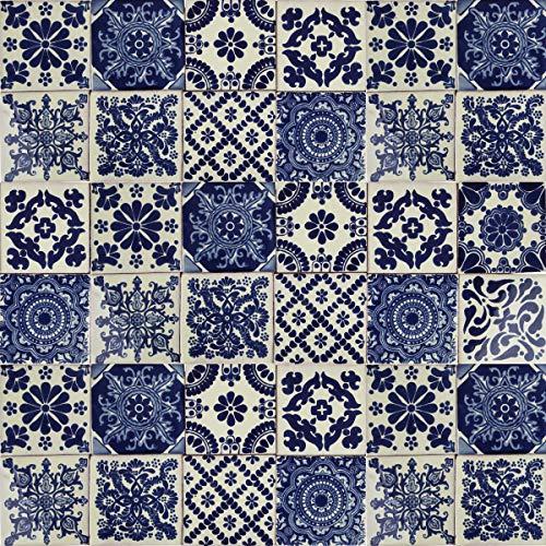 Cerames - Azul - Azulejos Mexicanos decorados| 10x10cm, 30 piezas | Azulejos artesanales de ceramica Talavera, hecho y pintado a mano, para baño y cocina