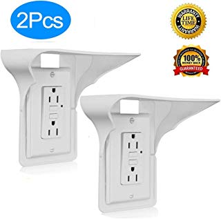 Andyrex Wall Outlet Shelf Power Perch - Storage Theory Space Saving Solution - Easy Install, Holds Up to 10 lbs (White), 2 Pack