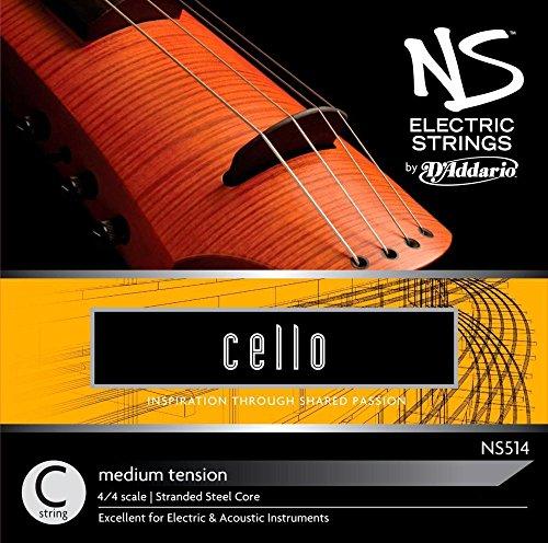 D'Addario NS514 - Cuerda para violonchelo eléctrico de acero en Do, 4/4...