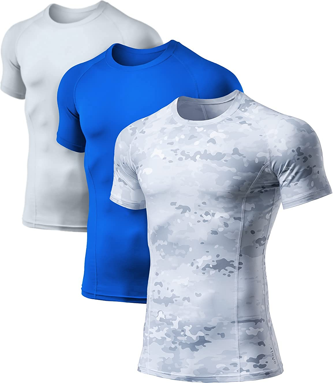 ATHLIO 1 or 3 Pack Men's supreme Super beauty product restock quality top Sleeve Short Cool Dry Shirt Compression