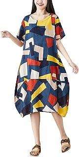 女性の夏のプリント半袖レトロカジュアルルーズワンピースろんぐ ぬりえ もこもこ ドレス やすい おおきいサイズ ドレス かみかざり