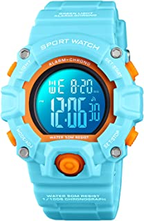 Kid Watch for Boys Girls LED Sports Watch Waterproof Digital Electronic Casual Military Wrist with Camouflage Silicone Band Luminous Alarm Stopwatch Light Blue