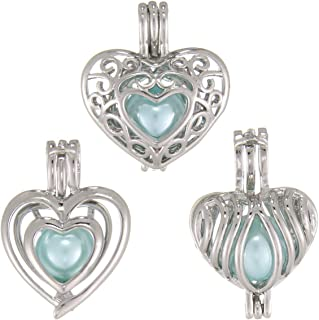 Heart Oyster Pearl Bead Cage Locket Pendants/Aromatherapy Charms for DIY Necklace Bracelet Jewelry Making (12 Pack)