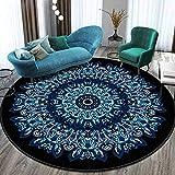 JBTM Alfombra redonda con diseño de mandala, antideslizante, alfombra para el suelo, romántica, para la noche, el baño, el ordenador, el dormitorio, la cultura del hogar, color gris y blanco, F, 60 cm