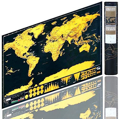 Berry King Travelgoals Weltkarte (42 x 29 cm) frei - rubbeln, kratzen Schwarz/Gold inkl. Kartographie Equipment