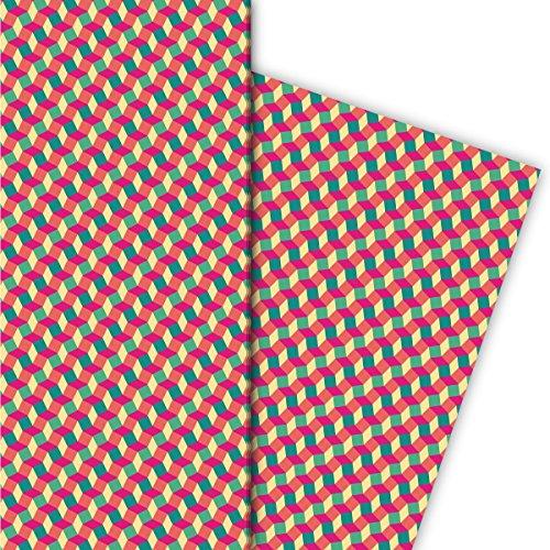 Kartenkaufrausch cadeaupapierset met klein patroon in escher trappen look, roze, voor leuke cadeauverpakking, designpapier, scrapbooking, 4 vellen, 32 x 48 cm