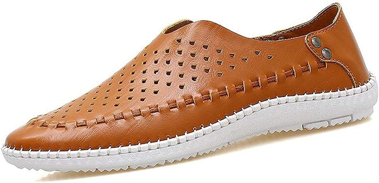 Haiyao Summer Leather Casual Men's shoes Men's Peas shoes Hollow Men's Lazy shoes Comfortable Office Street Fashion Leather bluee White Brown