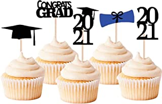 Graduation Cupcake Toppers, Class of 2021 Graduation Cake Toppers Picks for 2021 Graduation Party Decoration Supplies Cake...
