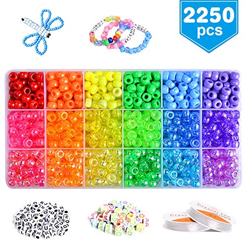 VICOVI 2250+pcs Pony Beads Jewelry Making Kit in 18 Colors, Rainbow Color Beads for Kids DIY Craft Gift, Bracelet, Hair Beads.