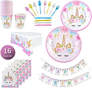 Serves 16 Guests Unicorn Birthday Party Supplies Set Pink & Gold Tableware, Plates, Cups, Napkins, Banner, Table Cover Unicorn Birthday Party Decoration Packs