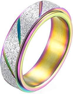 PAURO Women's Stainless Steel 6MM Rainbow Silver Flag Lucky Spinner Worry Ring Band Size 9