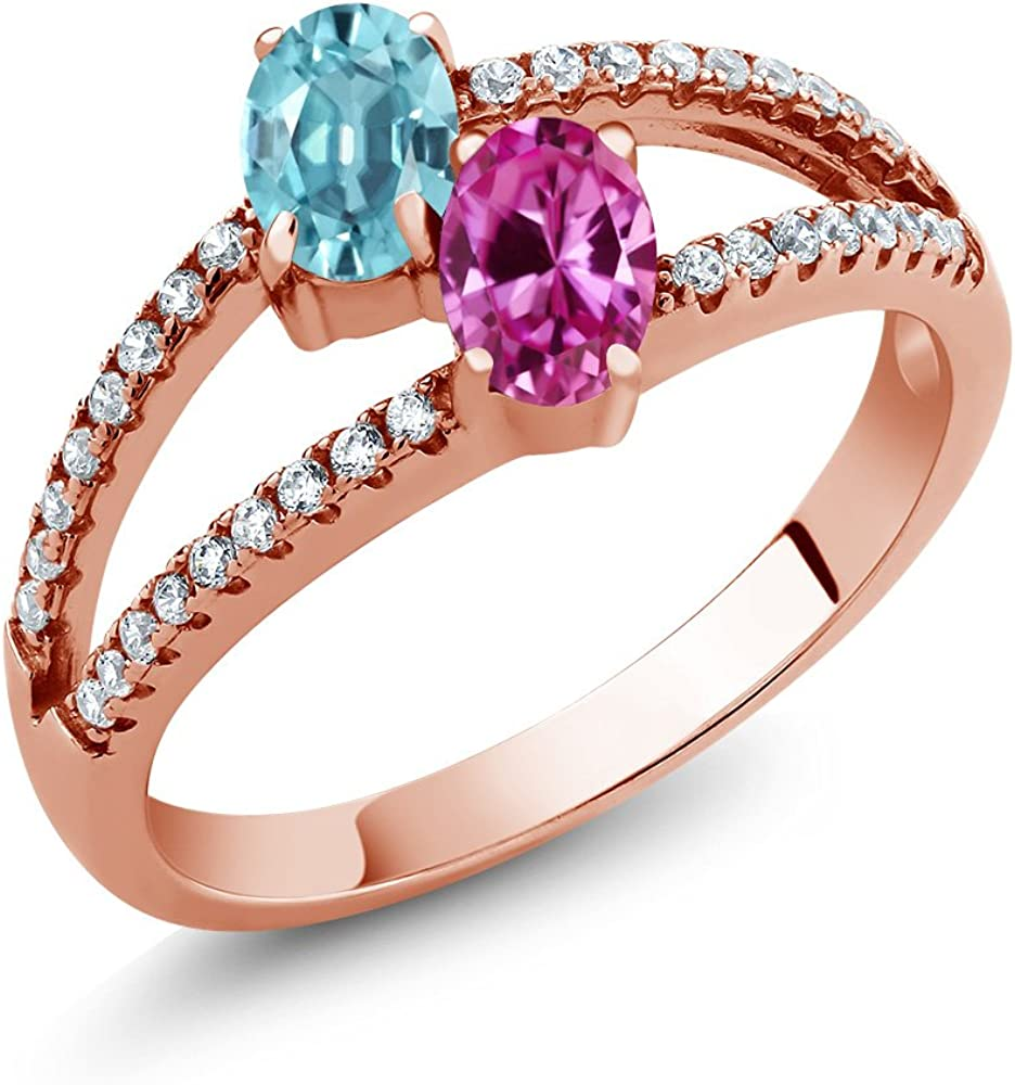 Gem Stone King 1.66 Department store Ct Oval 18 Fresno Mall Pink Sapphire Created Blue Zircon