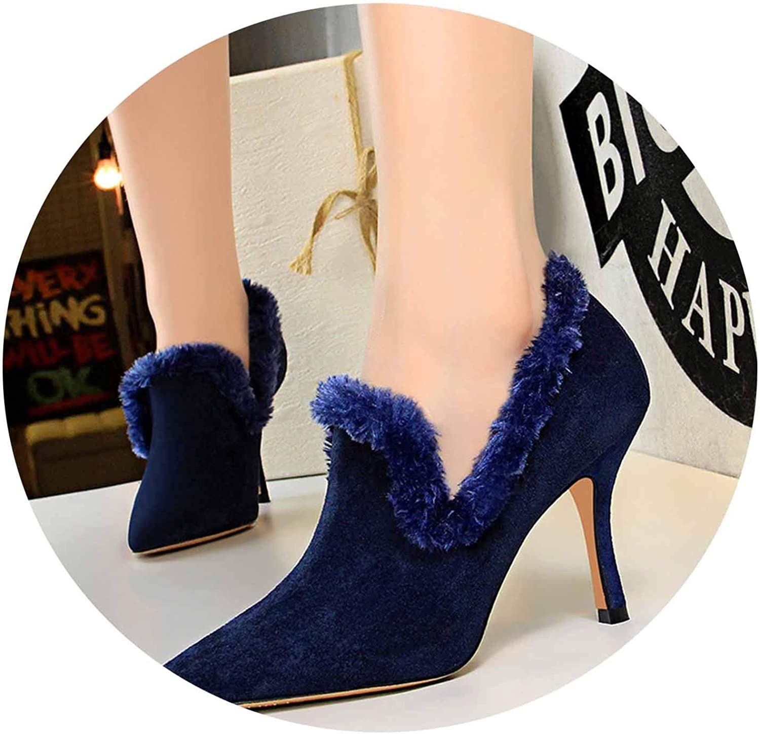 Autumn Faux Fur Warm Women Pumps Solid Flock High Heels shoes Pointed Toe Sexy Party shoes 9cm