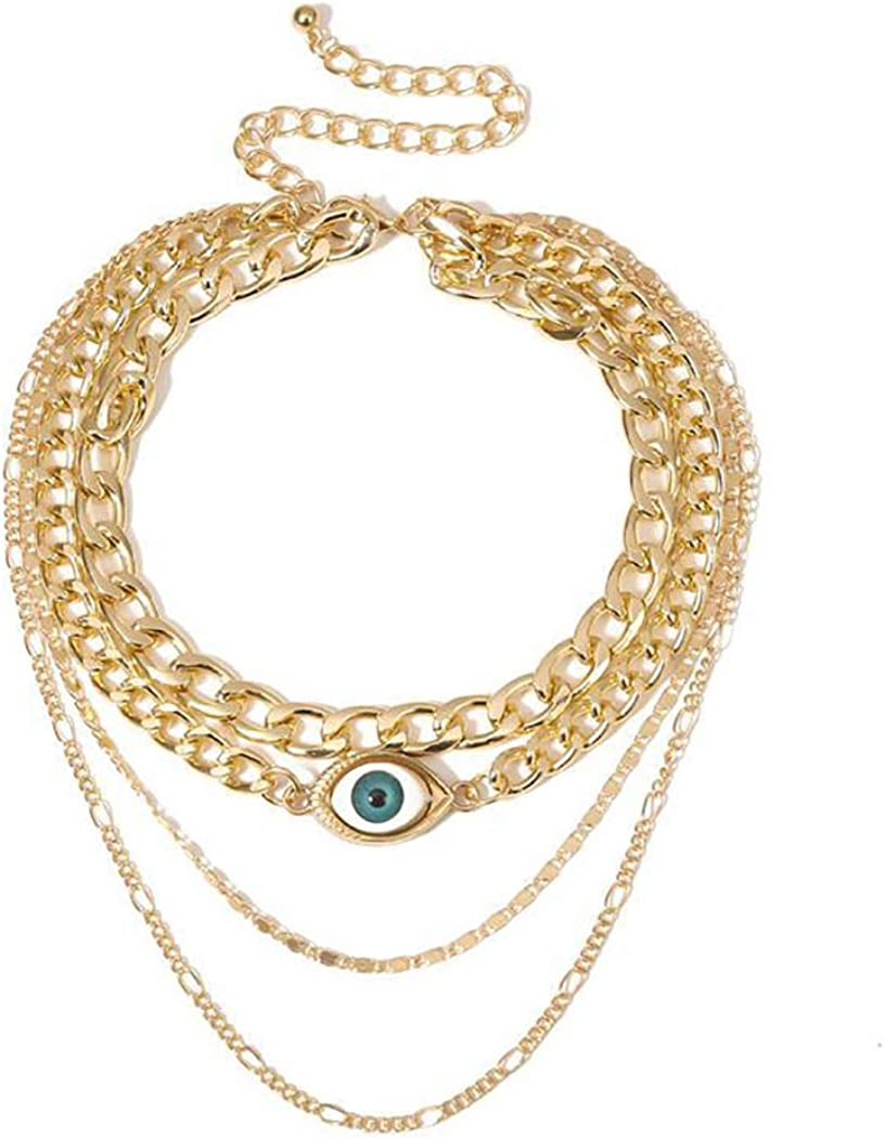 Abien Vintage Evil Eye Choker Necklaces Gold Layered Necklace Chain Punk Pendant Necklace Jewelry for Women and Girls
