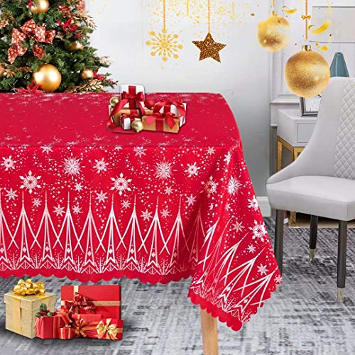 LUSHVIDA Christmas Rectangle Table Cloth – Washable Holiday Microfiber Tablecloth Decorative Table Cover for Banquet Party Kitchen Dining Room, 60 x 84 Inch