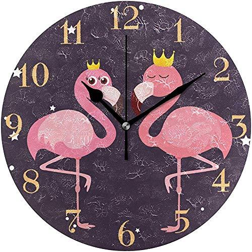 Cy-ril Flamants Roses Mignons avec Horloge Murale Couronne dorée Horloge Murale Ronde silencieuse fonctionnant sur Batterie sans tic
