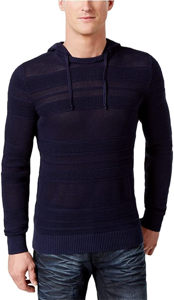 I-N-C Mens Open Knit Hooded Pullover Sweater