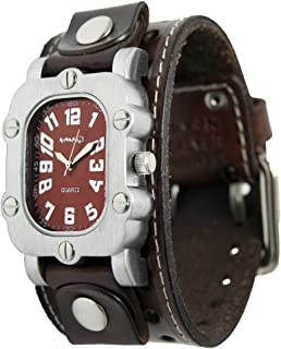 Nemesis Brown Rugged Watch with Dark Brown Single Stitched Leather Cuff Watch Band 20mm, DBSTH007B