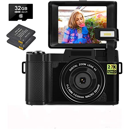 Digital Camera 30.0 MP Vlogging Camera 2.7K Full HD Vlog Camera with 3 Inch Flip Screen and Vlogging Camera for YouTube with 2 Batteries (1)