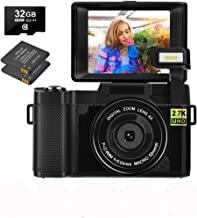 Digital Camera 30.0 MP Vlogging Camera 2.7K Full HD Vlog Camera with 3 Inch Flip Screen and Vlogging Camera for YouTube wi...