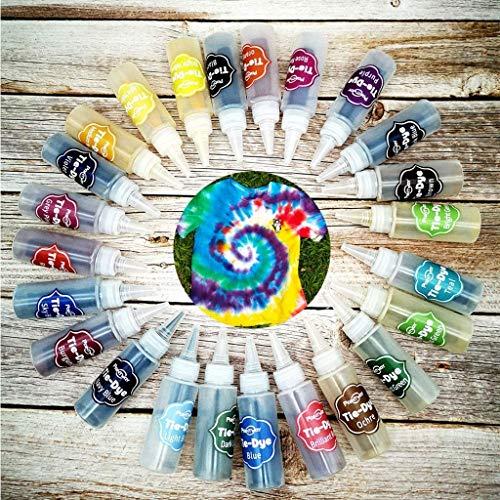 Surakey DIY Tie Dye Kit 18 Farben Teilig Tie-Dye Kit Stoff Textil Farben Tie Dye Kit DIY Kleidung Graffiti Batikfarben Set Tie Dye für DIY-Projekte und Partyaktivitäten