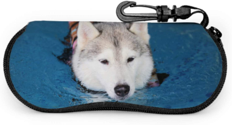 Happy Dog Swimming Dog Smiling Travel Case Glasses Eyeglasse Cases Light Portable Neoprene Zipper Soft Case Funny Eyeglass Case