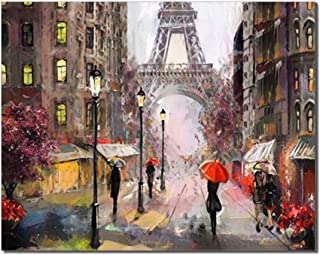 Canessioa Wall Art Canvas Prints Paris Street Scene in The Rainy Day Pedestrians with Umbrellas The Eiffel Tower Background Wall Decor for Home Room Kitchen Office Corridor(20x16inch Unframed)