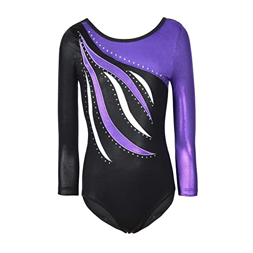 Moresave Girls Long Sleeve Sparkle Leotards Rainbow Dance Costume  Gymnastics Clothes